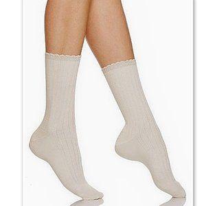 NWT Hue Lot of 3 Scalloped Pointelle Socks Chino